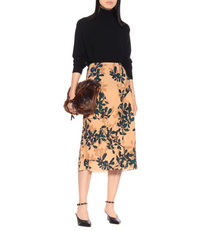 花柄プリントミディスカート